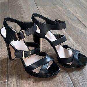 Vince Camuto black leather heel sandals 81/2 EUC